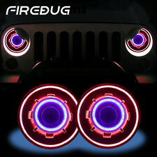 "Firebug Wrangle 7"" Round HID Projector Headlights,Halo Angel Eyes,Blue Demon Eye"