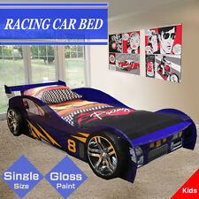 High Gloss Blue Kids Children Racing Car Single Bed Drawer Storage Rear Spoiler