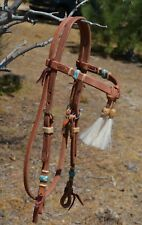 Jose Ortiz Harness Futurity Brow Headstall Natural/Turquoise Braided Rawhide