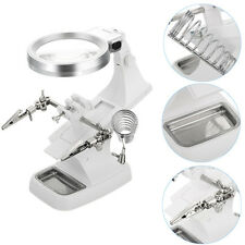 LED Helping Hand Magnifying Soldering IRON STAND Lens Magnifier Clamp Tool Kit