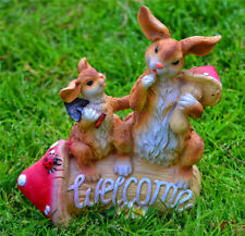 Entry Garden Ornament Bunny Rabbit Welcome Sign Ornaments Statues Ceramic Decor