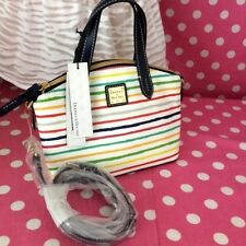 Dooney & Bourke Ruby Satchel Bag Multi Stripes White/Marine Blue Logo Handbag