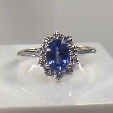 Beautiful Ceylon Blue Sapphire And Diamond Cluster Size M 9ct White Gold