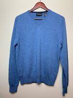 BARNEYS NEW YORK Men's Pullover Sweater V-Neck 100% Merino Fine Wool Size L Blue