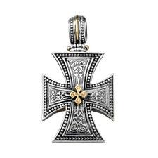 Gerochristo 5410N ~ Solid Gold & Sterling Silver Maltese Cross Pendant