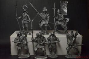 Set of Soldiers Samurai plastic 1/32 7 figures 54 mm