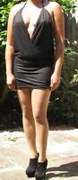 Just Short Black Dress Skimpy Sultry Mini Plunge Neck Backless Sleeveless Party