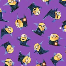 Minions Bite Me Halloween Vampire Purple Toss 100% cotton fabric by the yard
