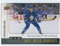 17/18 UPPER DECK GAME DATED MOMENTS #8 1500 GAMES PATRICK MARLEAU LEAFS *49980