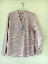NWT RIDERS (BY LEE'S) Ladies Pastel Purple and Brown Striped Blouse SIZE L