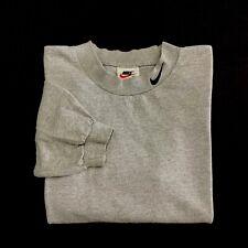 Vintage 90s Nike Mock Neck Long Sleeve T Shirt Medium Gray Embroidered Swoosh