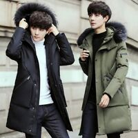 Mens Casual Winter Real Racoon Fur Collar Long Down Coat Hooded Thick Jackets