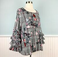 Size 1X Alfani Floral Plaid Ruffle Sleeve Top Blouse Shirt Women's Plus NWT New