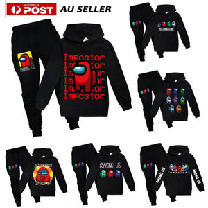 Kids among us Tracksuit Set Boys Girls Sports Print Hoodie Pants Casual Outfit