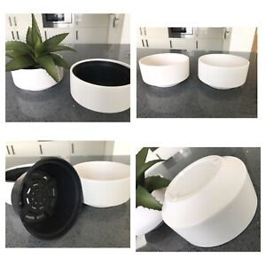 Contemporary Indoor Plant Pots x 2   Oval   With Separate Planter Inserts 16x8cm