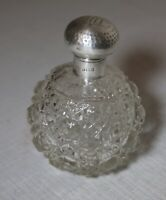 antique 1800's sterling silver cut crystal perfume cologne barber glass bottle .