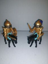 Vintage 1974 Geobra Playmobil RARE Gold Knights with Horses & weapons