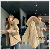 Women Autumn Warm Hooded Casual Jacket Short Fur Collar Cotton Winter Parka Coat