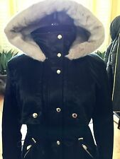 BRAND NEW JUICY COUTURE WOMEN BLACK HOODED PARKA COAT WITH LUX BEIGE LINED FUR S