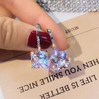Princess Cut Cubic Zirconia Stud Earring Womens 925 Silver Wedding Party Jewelry