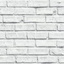 ARTHOUSE VIP RETRO  REALISTIC WHITEWASHED WHITE OLD BRICK WALL WALLPAPER 623004
