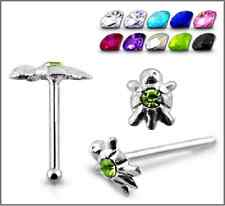 1 22g 6mm Sterling Silver CZ Gem Stone Turtle Nose Stud Ring Pin Piercing N045