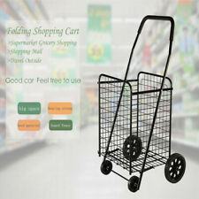Casual Folding Shopping Cart Jumbo Basket Grocery Laundry Travel w/ Swivel Wheel