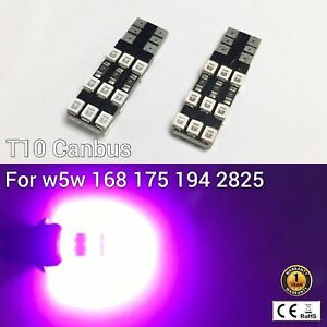 T10 W5W 194 168 2825 License Plate Light Purple 18 Canbus LED M1 For Cadillac A