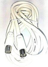 CABLE DE ANTENA BLANCO 3 METROS RG6-U MACHO HEMBRA CONEXION TV TELEVISION