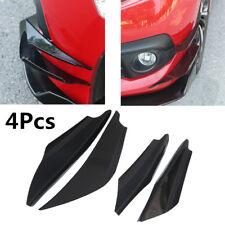 4Pcs Glossy Black Car Front Bumper Fins Spoiler Wing Lip Splitter Spoiler Canard