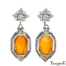 TAGLIAMONTE 925 STERLING SILVER 14K GOLD ACCENT  & VENETIAN GLASS EARRINGS