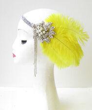 Gelb Silber Feder Kopfteil Vintage 1920s Flapper-stirnband Great Gatsby 1751