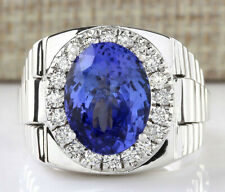 MENS 9.44 Carat Natural Tanzanite 14K White Gold Diamond Ring
