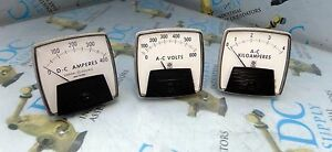 GE GENERAL ELECTRIC A-C KILOAMPERES A-C VOLT & D-C AMPERES METER LOT OF 3