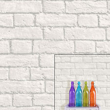 Coloroll Urban Texture Glitter Brick White Grey Feature Wallpaper