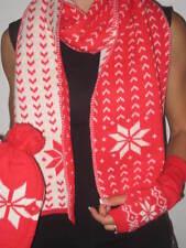 Women's Fair Isle Scarf Snow Red Wool Blend Ski Hat Beanie +Hand Warmers Set