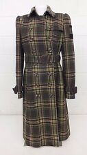 Juicy Couture Brown Plaid Double Breasted Trench Coat Women's Size 8 EXCELLENT