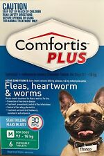 Comfortis Plus Green 9.1kg - 18 kg For Dogs 6 Pack - Kills Fleas Fast Tablets
