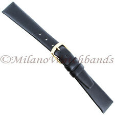 14mm Hadley Roma Black Unstitched Genuine Calfskin Leather Ladies Band Short 702