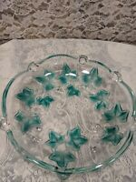 Ivy Pattern Clear Glass Can't/ Trinket Dish