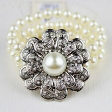 3 filamento de Perla y grandes Flor diamantes de imitación de cristal pulsera de pétalos de corazón
