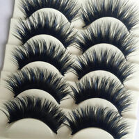 5 Pairs Blue+Black Handmade Long Thick Cross False Eyelashes Makeup Eye Lashes