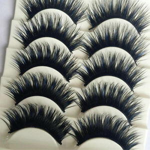 5 Pairs Blue+Black Handmade Long Thick Cross False Eyelashes Makeup Eye Lashes