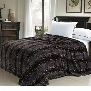Brown Tan Snake Skin Animal Print Safari Warm Fleece Blanket Twin Queen Size Bed
