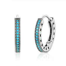 Earrings 925 Sterling Silver Women Blue Circle Hoop Round Turquoise