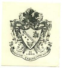 1898 Engraved Bookplate Ex Libris John Ostrom Harriet Whitmore Enders F.T. Gay