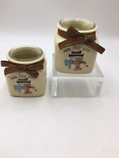 2 Christmas Crazy Mountain Votive Holders Candle Jar Warm Fuzzy Wishes