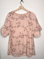 PLEIONE Pink Floral Double Ruffle Sleeves Blouse Size Large
