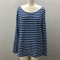 Gap Knit Pullover Tee Top T-Shirt Women's XXL Blue White Striped Long Sleeve