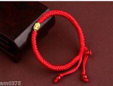 18K Yellow Gold Lucky Beads knitted Bracelet Best Gift Fine